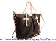 wholesale Louis Vuitton Monogram Canva Palermo GM Brown M handbags Fre