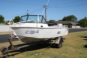 Aluminium boat on stainless steel trailer for sale 50 hp elect start p