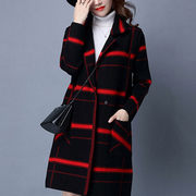 Women's Wild Thin Plaid Jacket Long Sections Sweater Knitted Cardigan